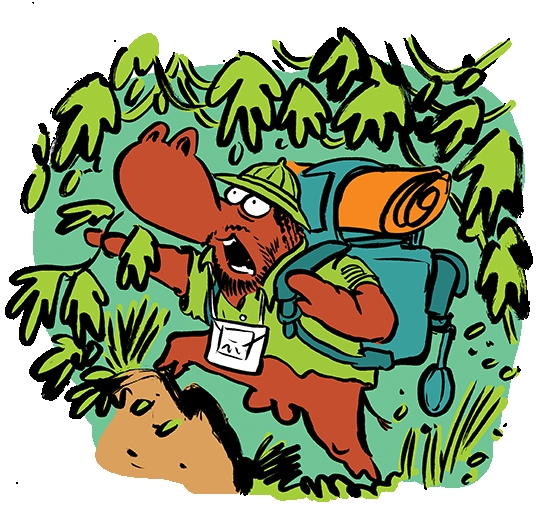 An intrepid explorer heading off on adventures through the wild undergrowth. Hack hack hack.